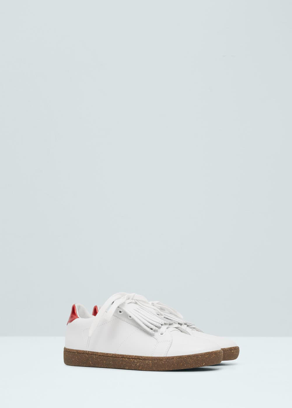 Fringed leather sneakers | MANGO