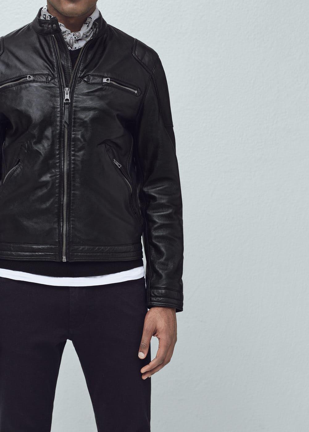 Leather biker jacket | MANGO MAN