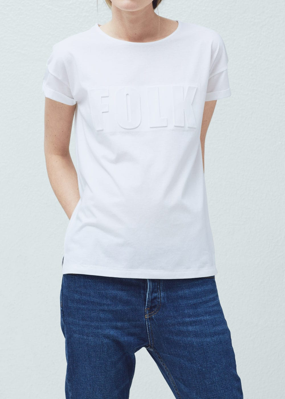 Embossed cotton t-shirt | MANGO