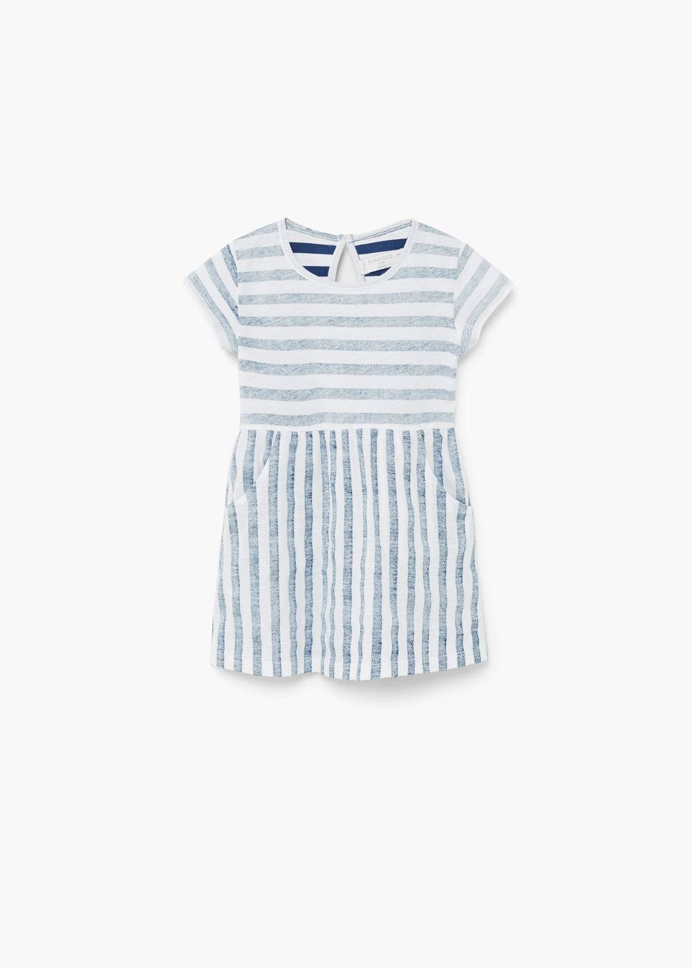 Striped cotton dress | MANGO KIDS
