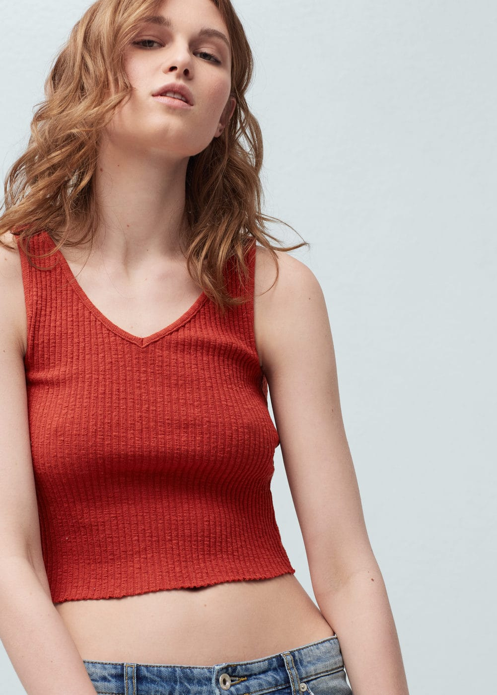 Ribbed cotton-blend top | MANGO