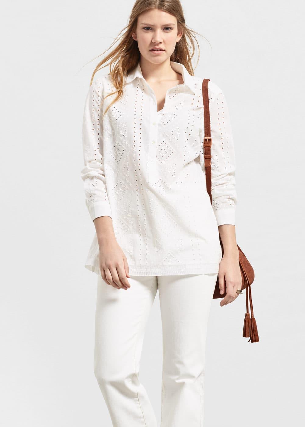 Openwork cotton blouse | VIOLETA BY MANGO