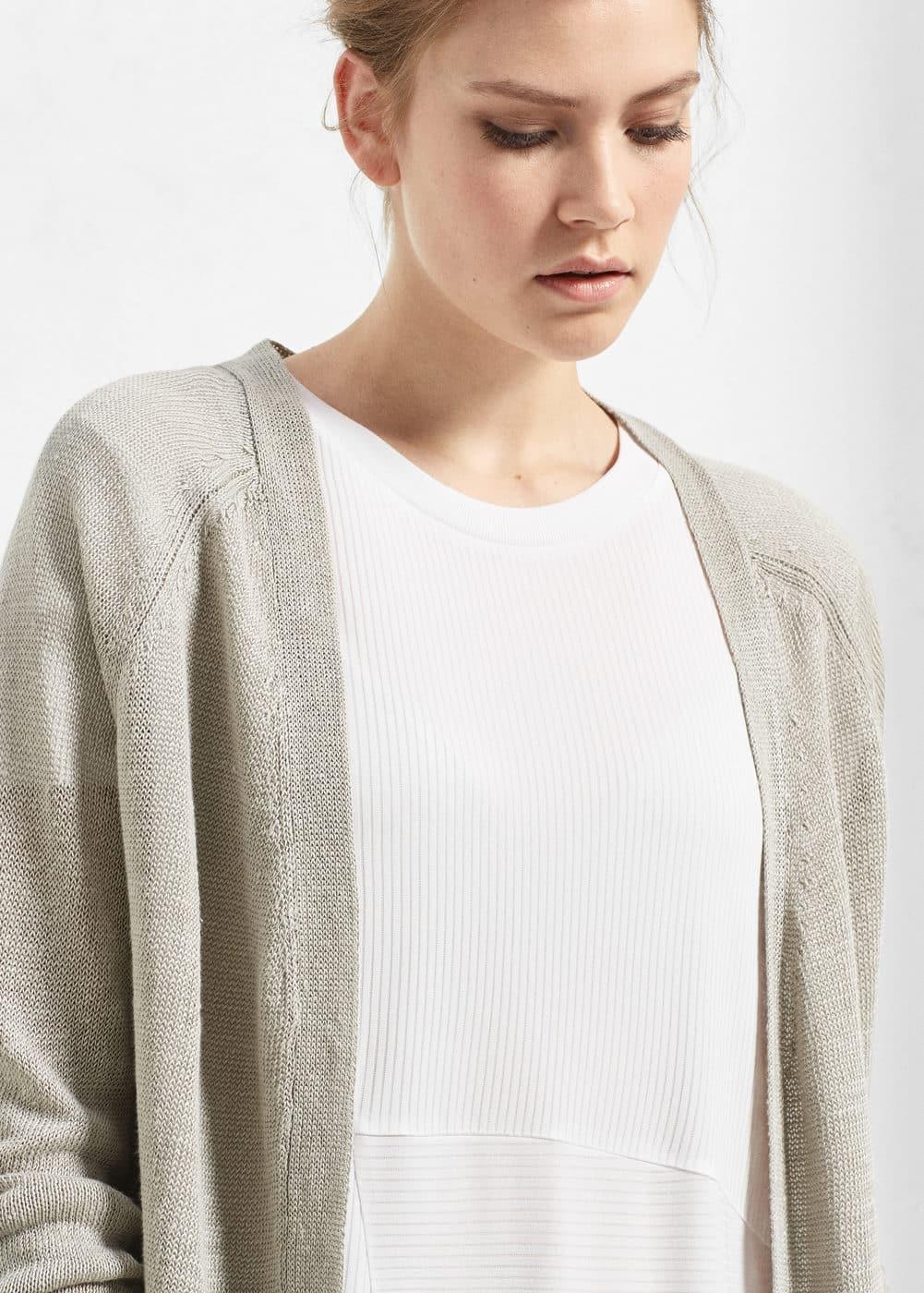 Long linen cardigan | MANGO