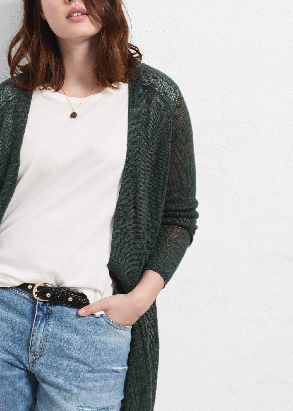 Long linen cardigan | VIOLETA BY MANGO