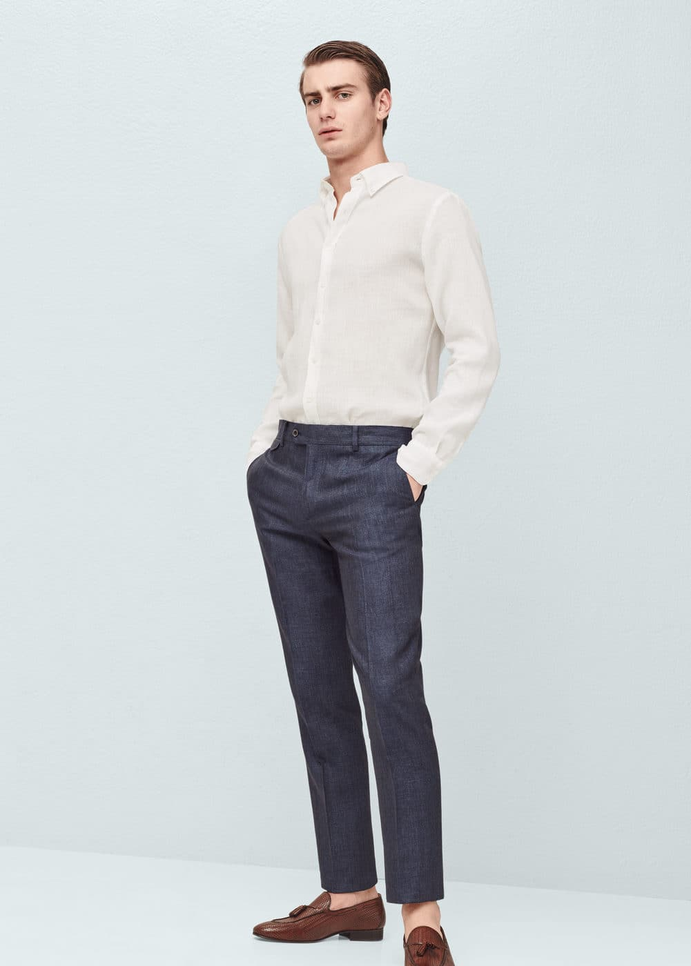 Slim-fit linen suit trousers - Men | MANGO Man USA
