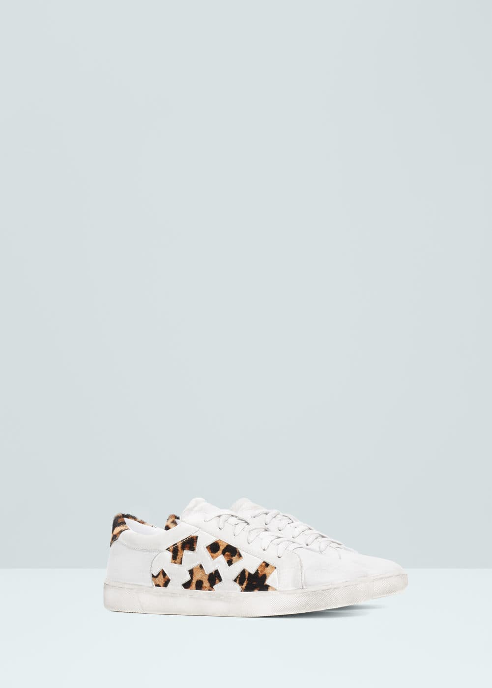 Panels leather sneakers | MANGO