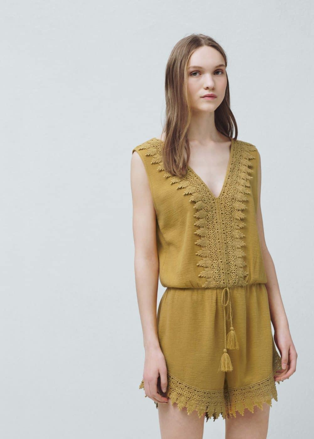 Lace cotton jumpsuit   MANGO