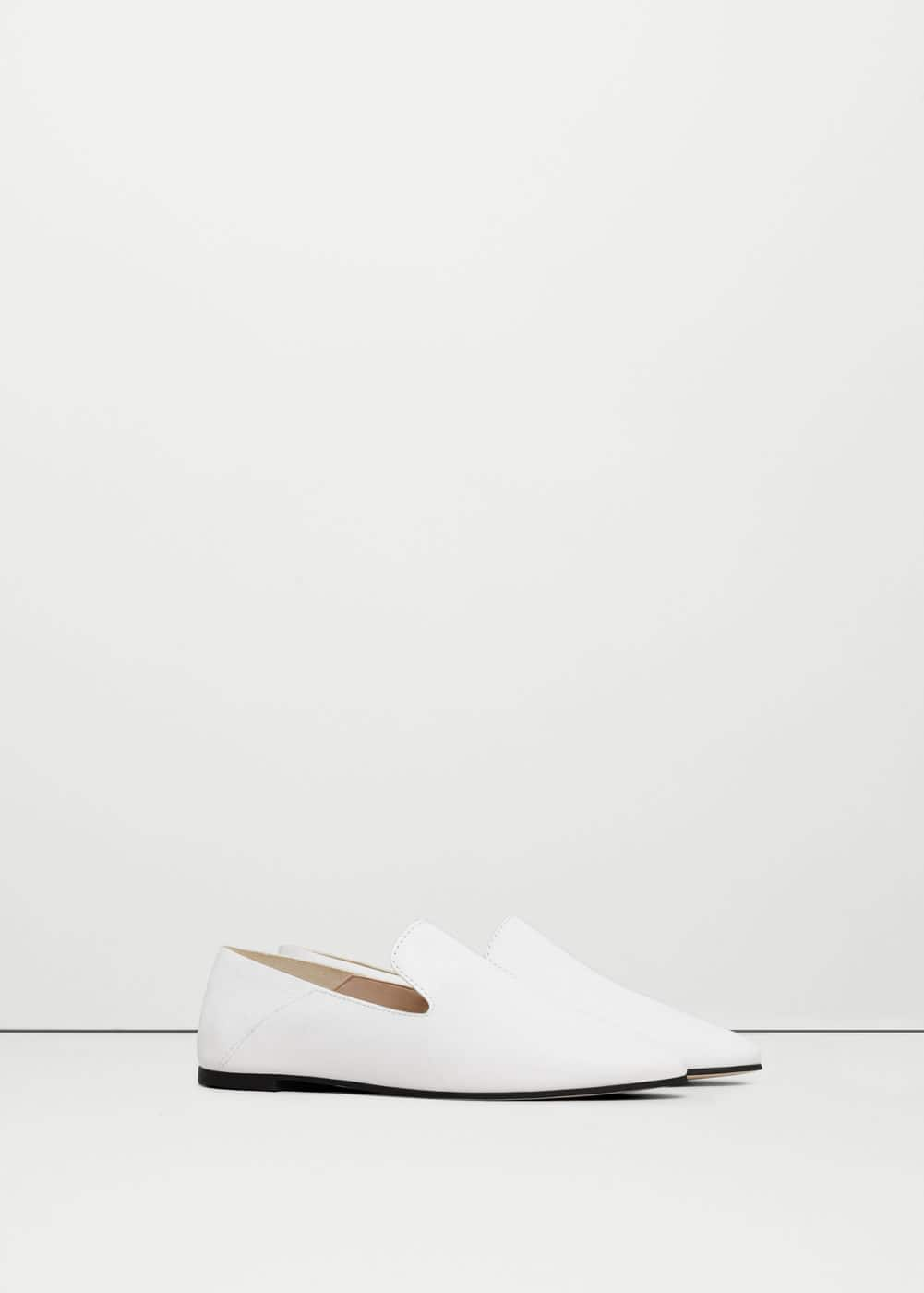 Leather pointed loafers | MANGO