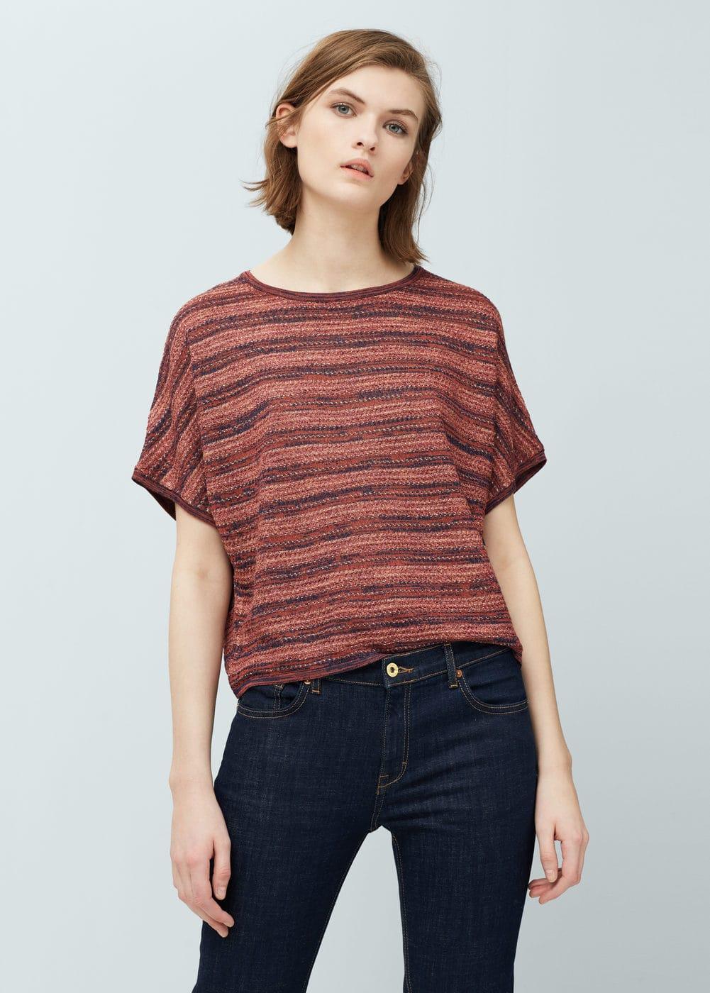 Striped open-work sweater | MANGO