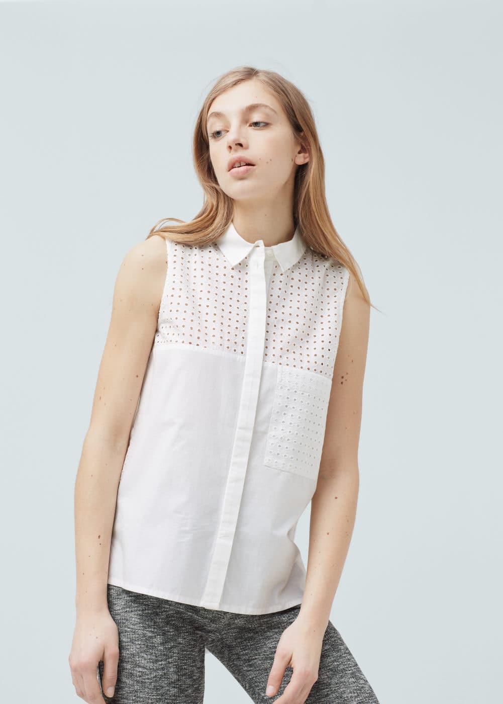 Openwork cotton shirt | MANGO