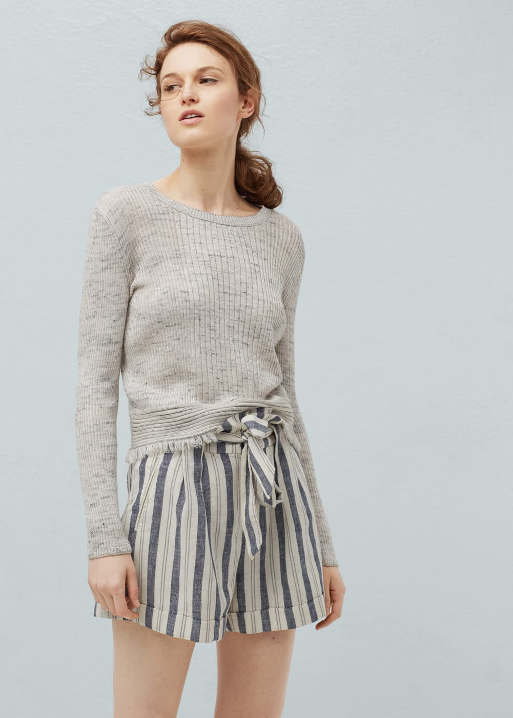 Striped linen-blend bermuda shorts | MANGO