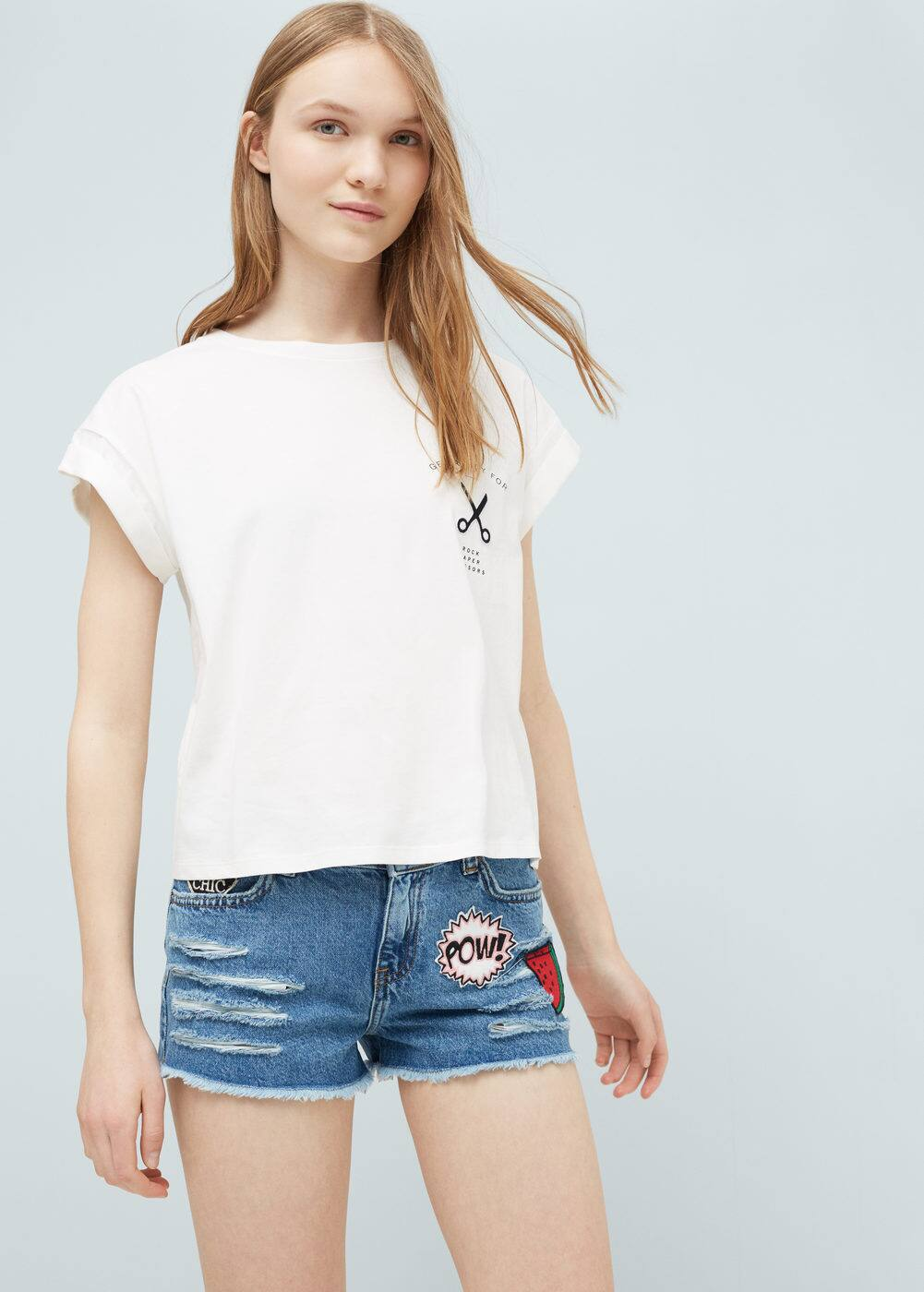 Patched denim short | MANGO
