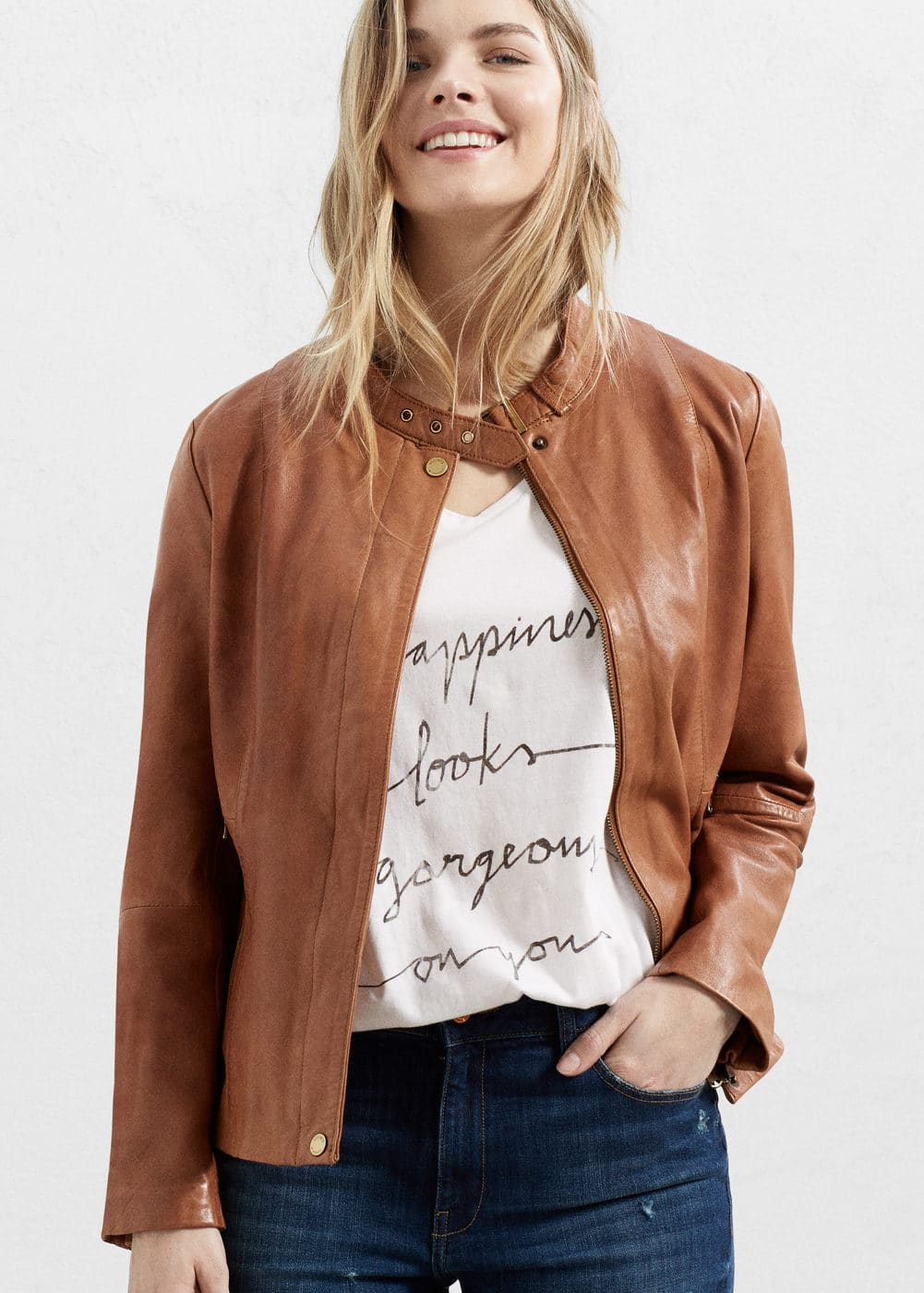 Buckles leather jacket | MANGO