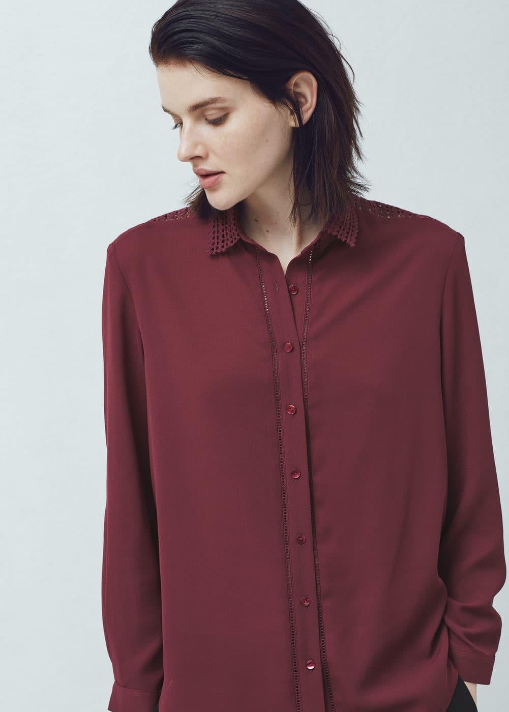Crochet panels shirt | MANGO