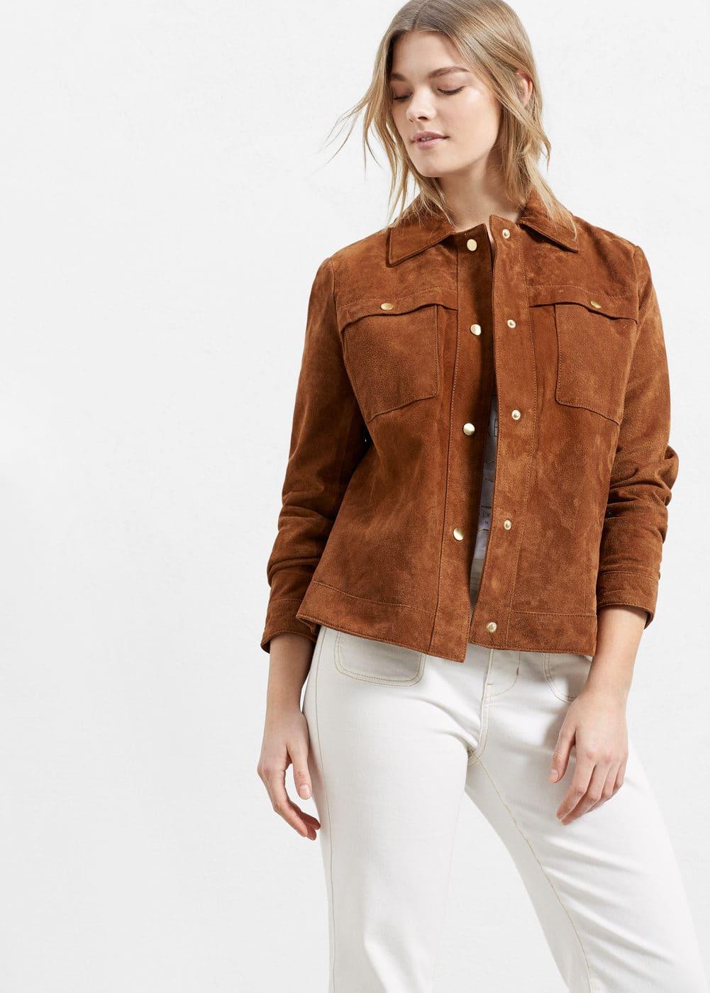 Buttoned suede jacket | VIOLETA BY MANGO