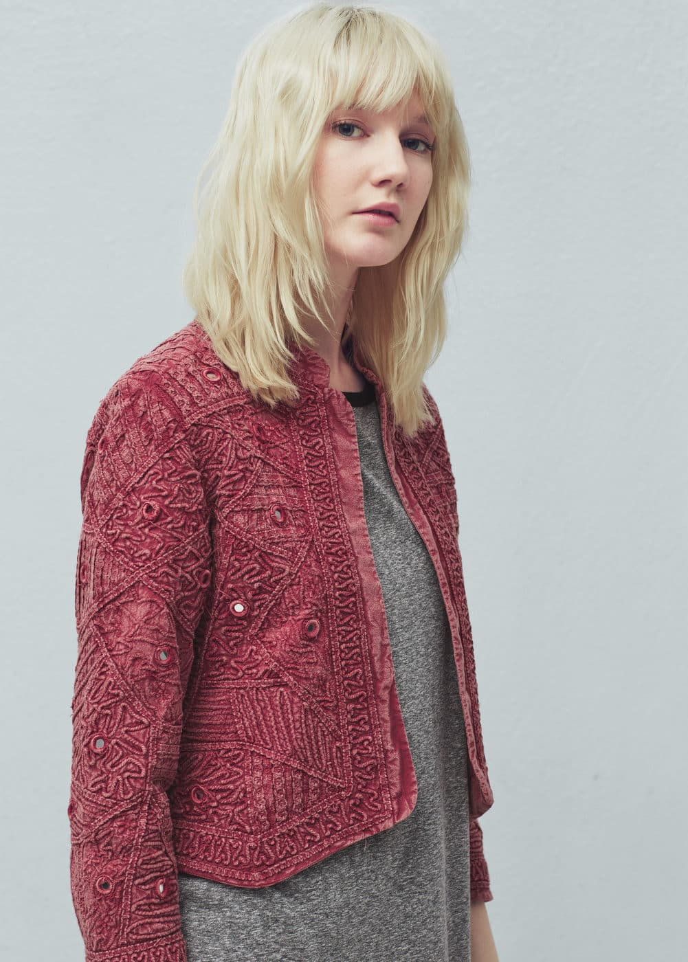 Textured cotton-blend jacket | MANGO