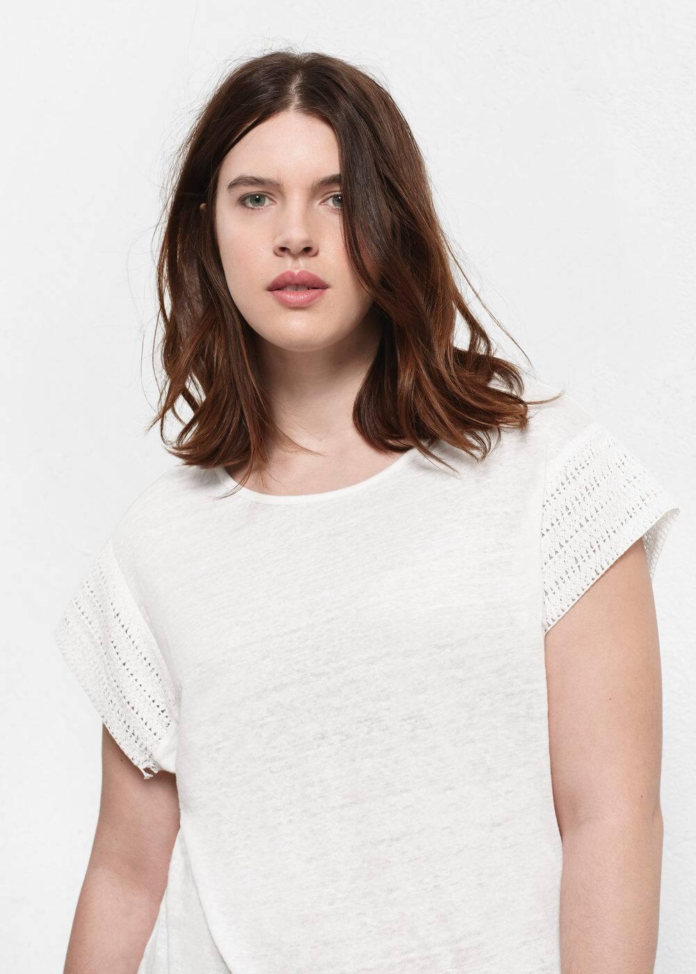 T-shirt lin empiècement | VIOLETA BY MANGO