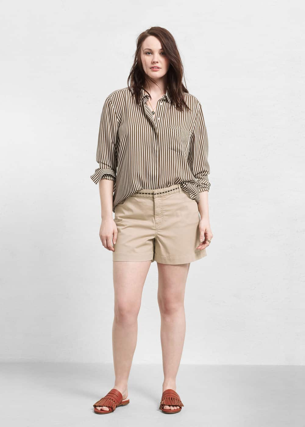Embroidered cotton shorts | VIOLETA BY MANGO