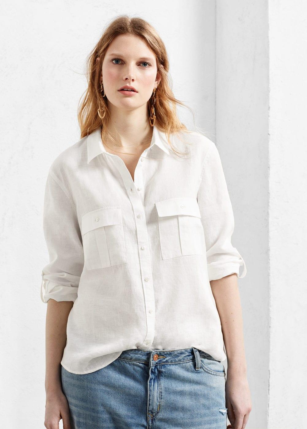Pocket linen-blend blouse   VIOLETA BY MANGO
