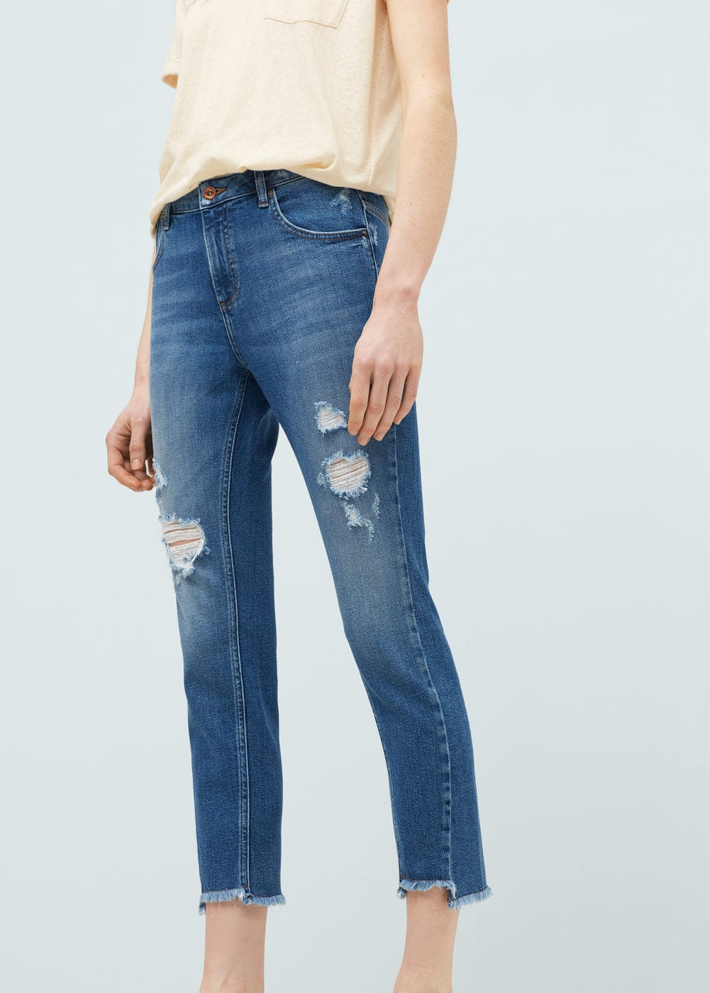 Twister cropped jeans | MANGO