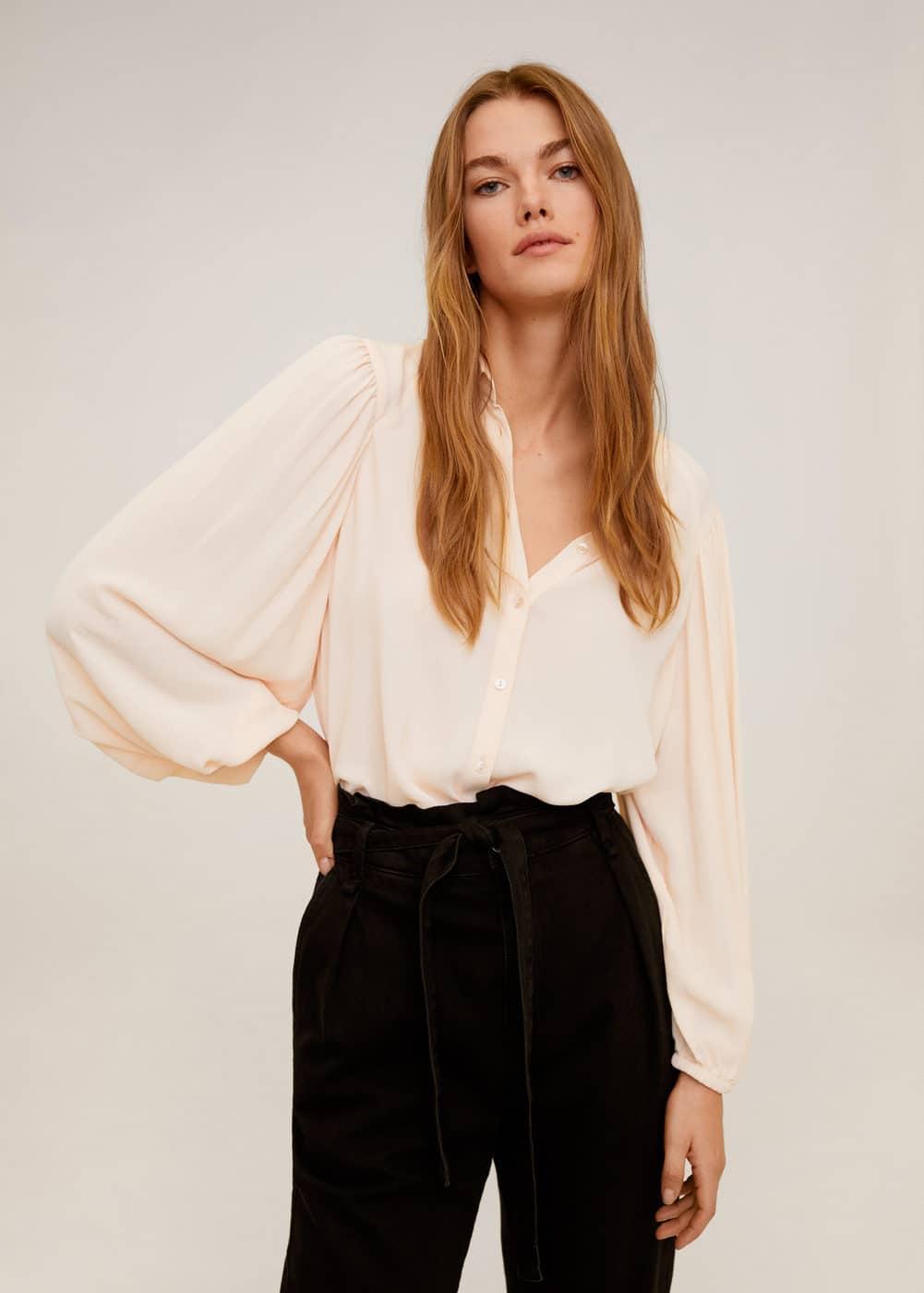 m-shan:blusa mangas abullonadas