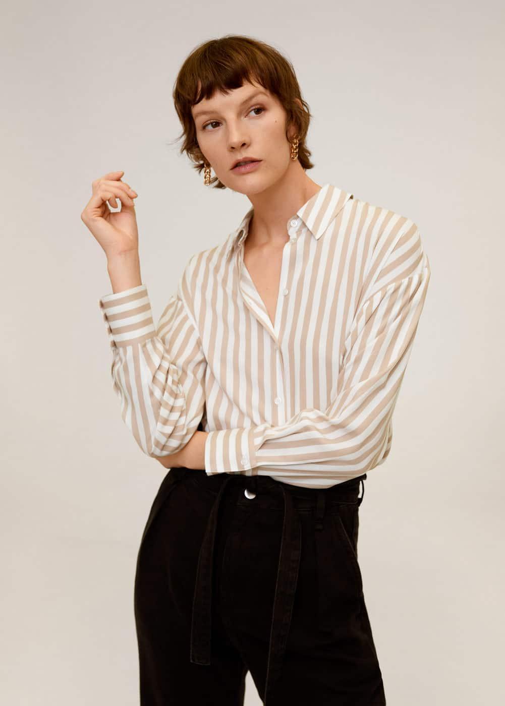 Струящаяся рубашка с принтом -  Женская | Mango МАНГО Россия (Российская Федерация)