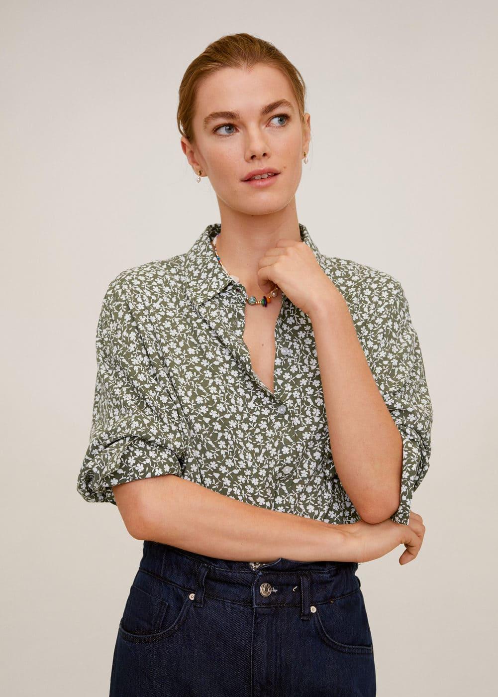 m-new:camisa estampada fluida