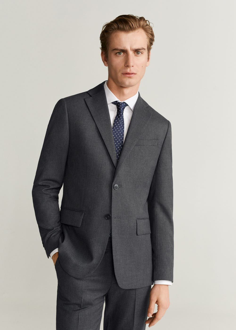 Regular Fit Microstructure Suit Blazer by Mango