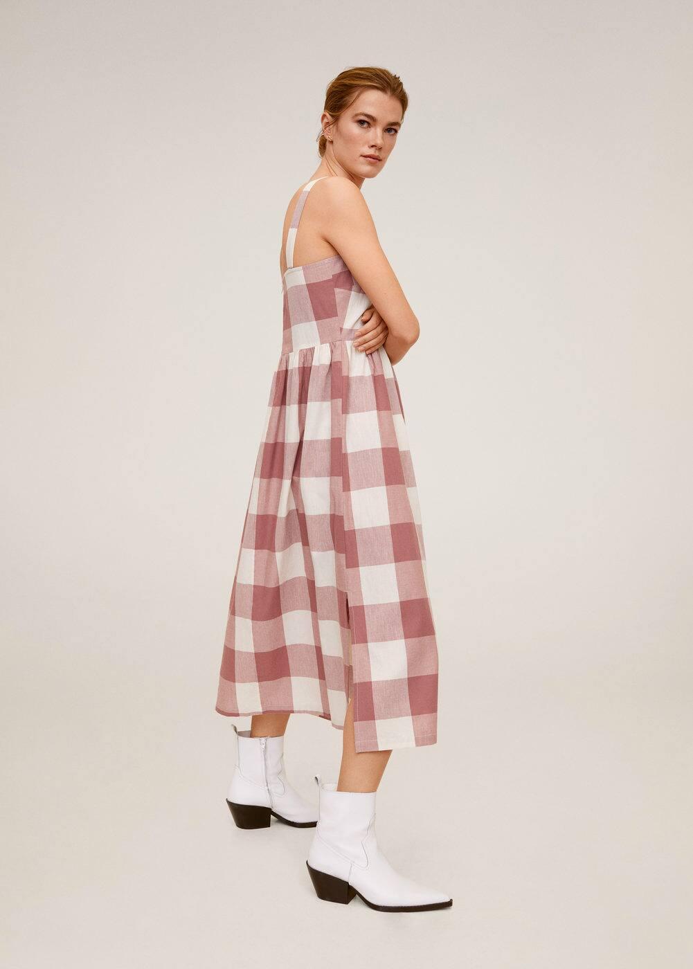 Миди-платье в клетку -  Женская | Mango МАНГО Россия (Российская Федерация)