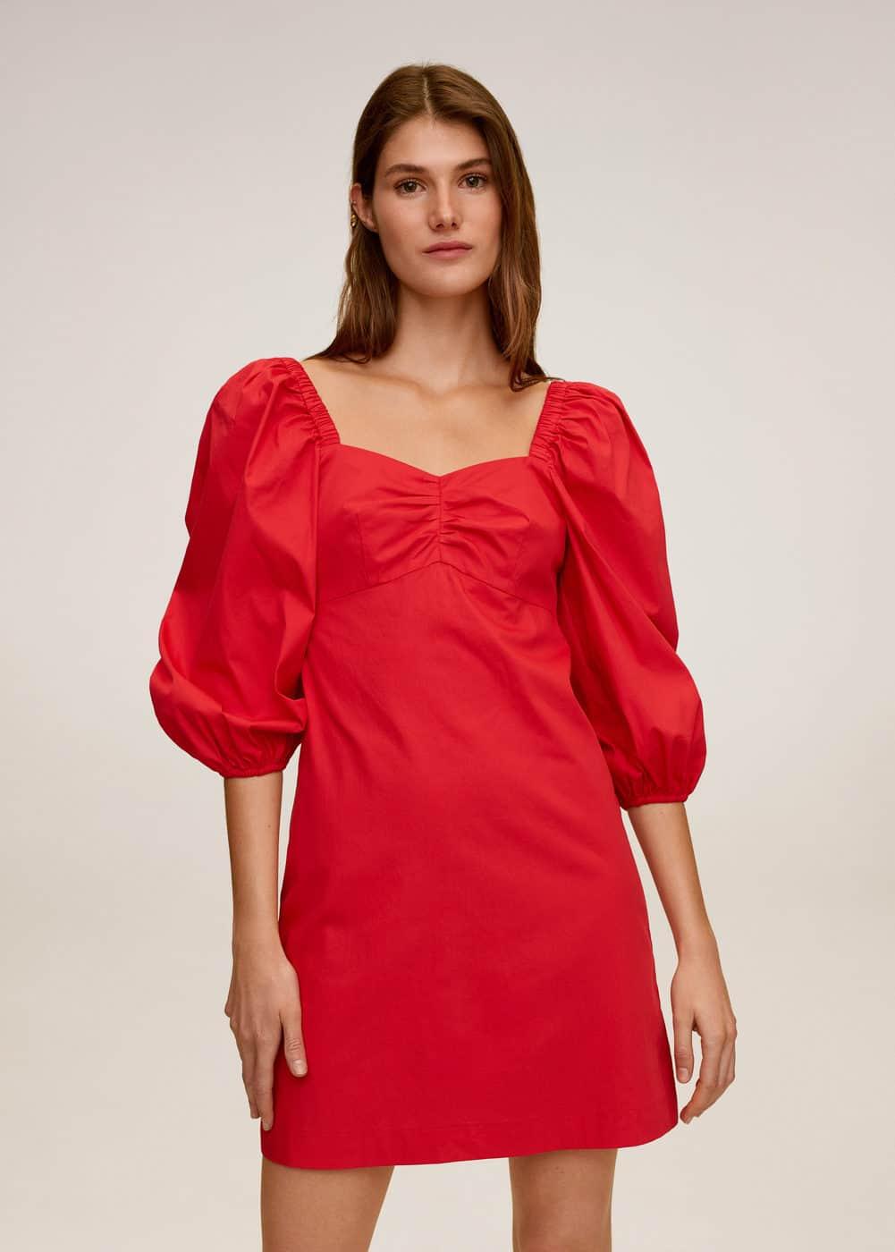m-sleeve:vestido off-shoulder popelin