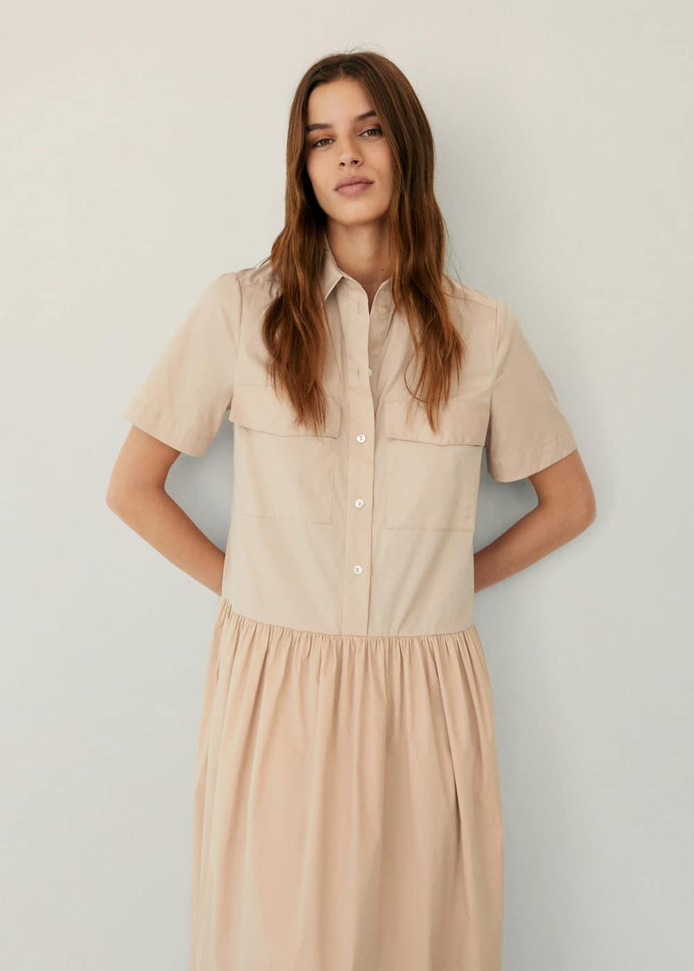 m-elna:vestido camisero algodon