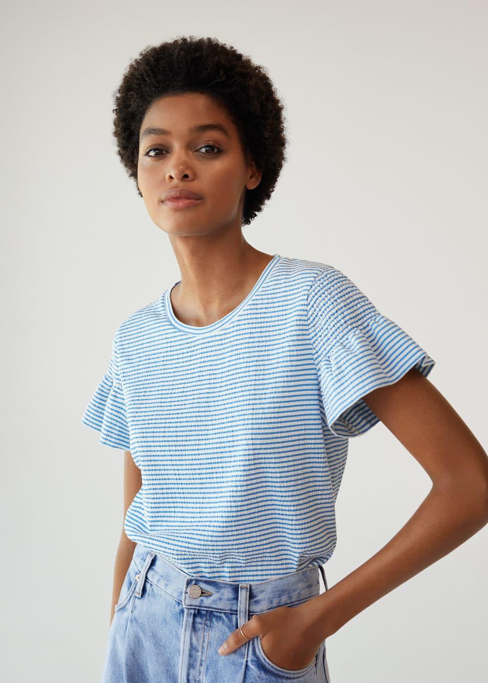 m-petra:camiseta rayas volantes