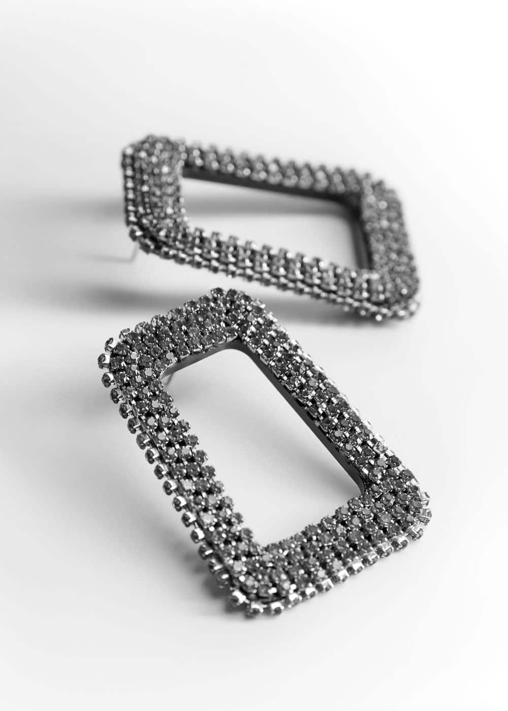 Crystal Square Earrings by Mango