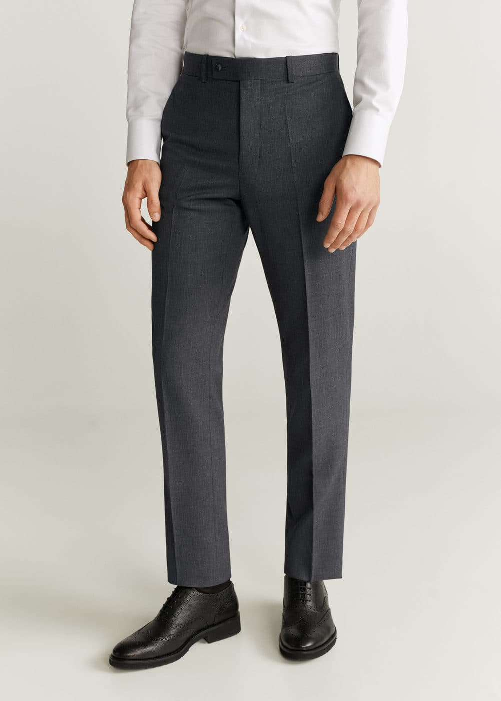 Regular Fit Microstructured Suit Pants by Mango