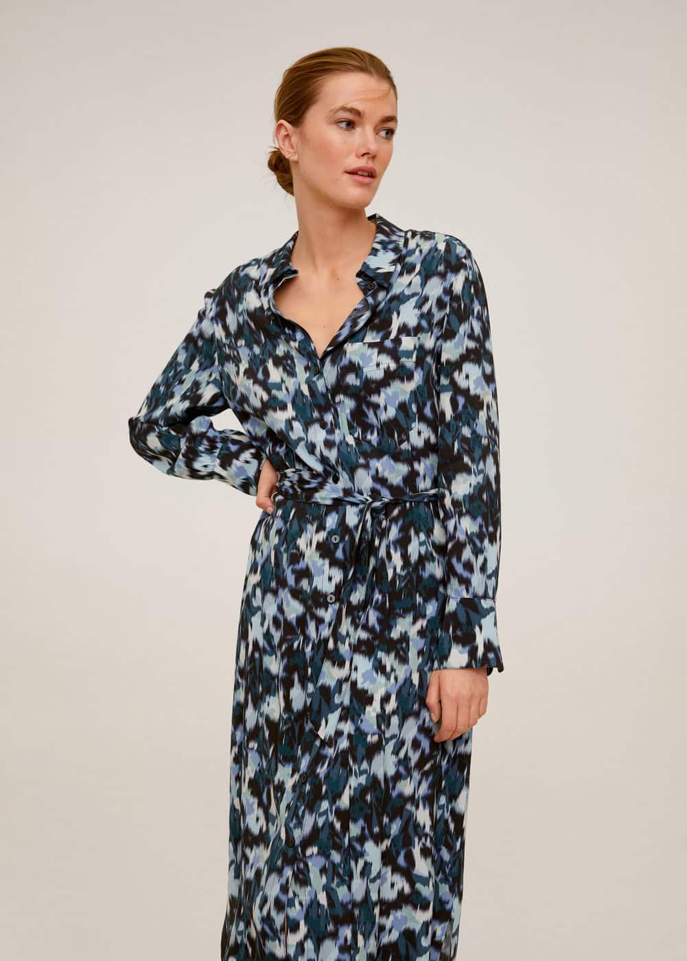 m-alexis:vestido camisero estampado abstracto