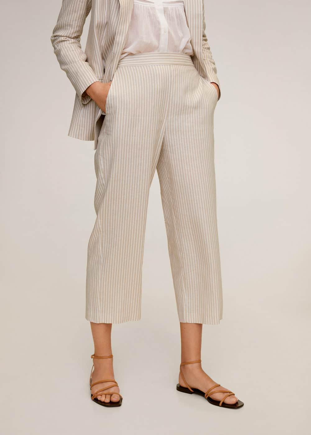 m-wave:pantalon lino rayas