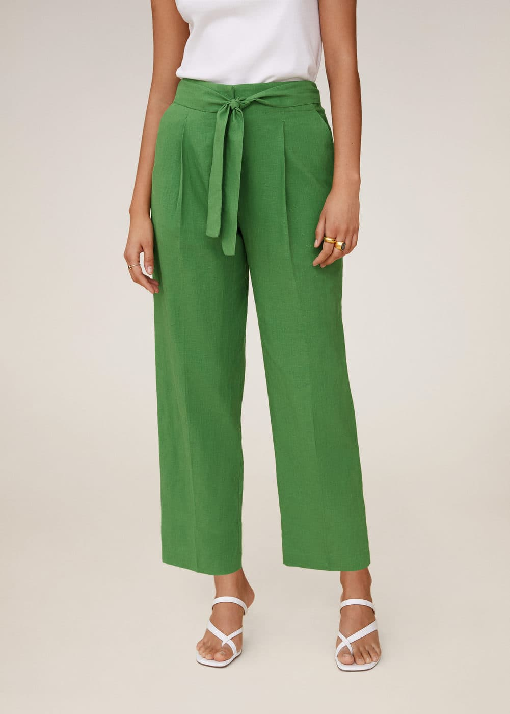 m-emma:pantalon crop lino