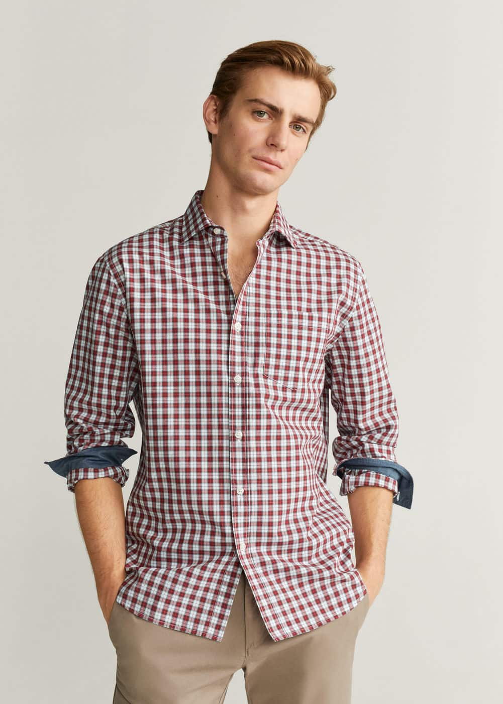 h-pale:camisa regular fit algodon cuadros