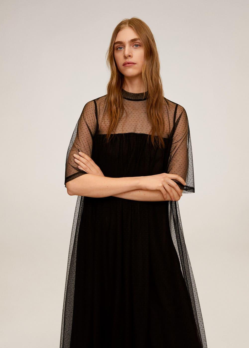 Платье из полупрозрачной ткани в крапинку -  Женская | Mango МАНГО Россия (Российская Федерация)