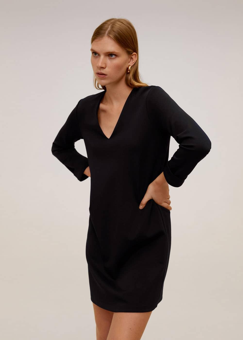 m-veldus:vestido escote pico