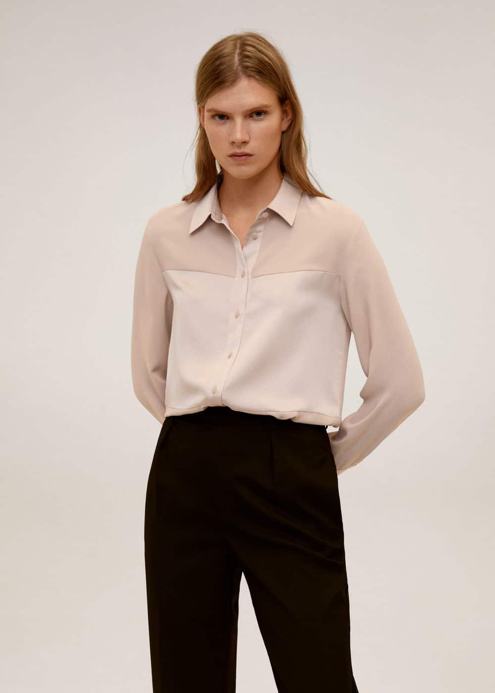 Струящаяся рубашка с атласным блеском - Рубашки - Женская | Mango МАНГО Россия (Российская Федерация)