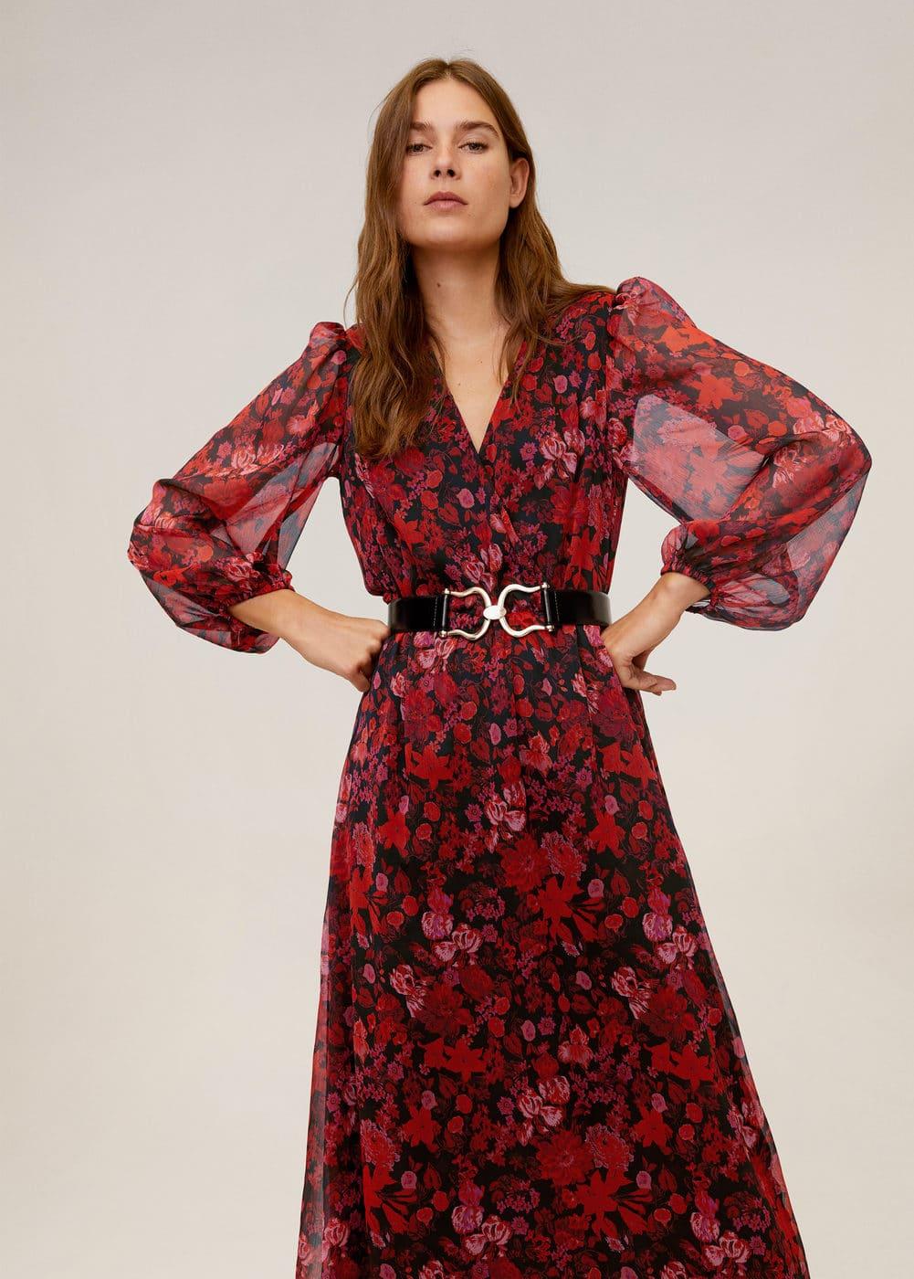 Миди-платье с цветами -  Женская | Mango МАНГО Россия (Российская Федерация)