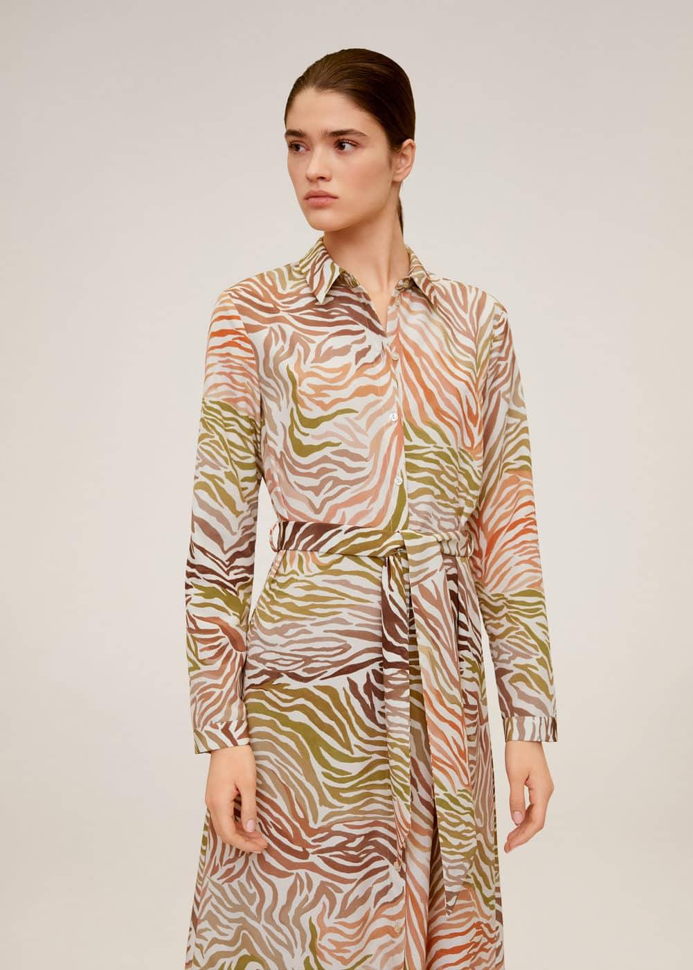 Принтованное платье-рубашка -  Женская | Mango МАНГО Россия (Российская Федерация)