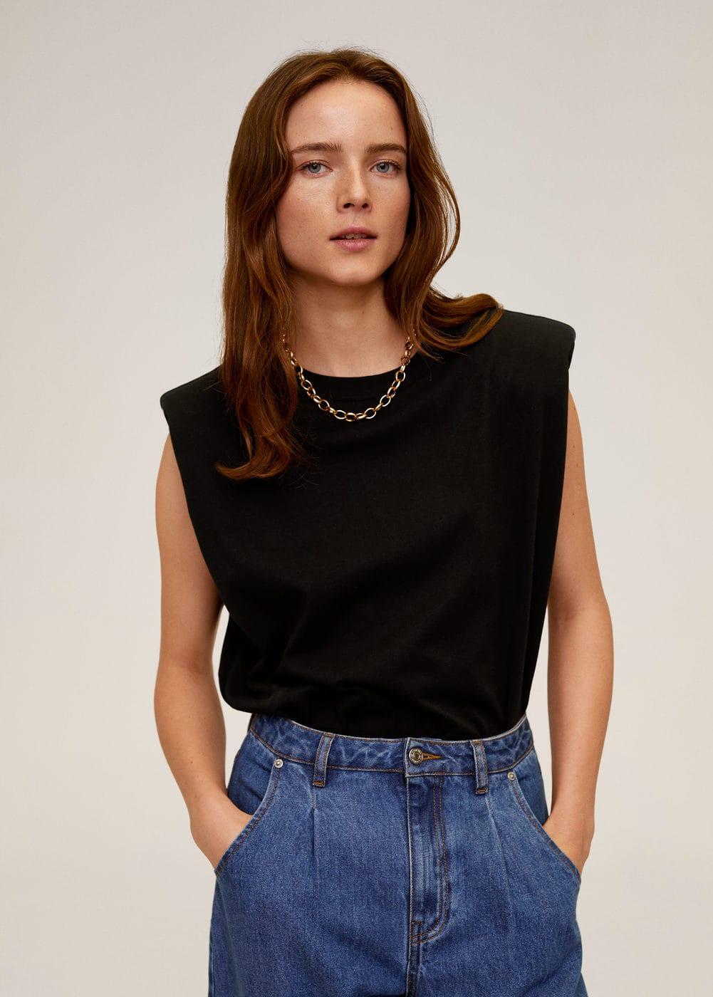 Mango T-shirt coton épaulettes