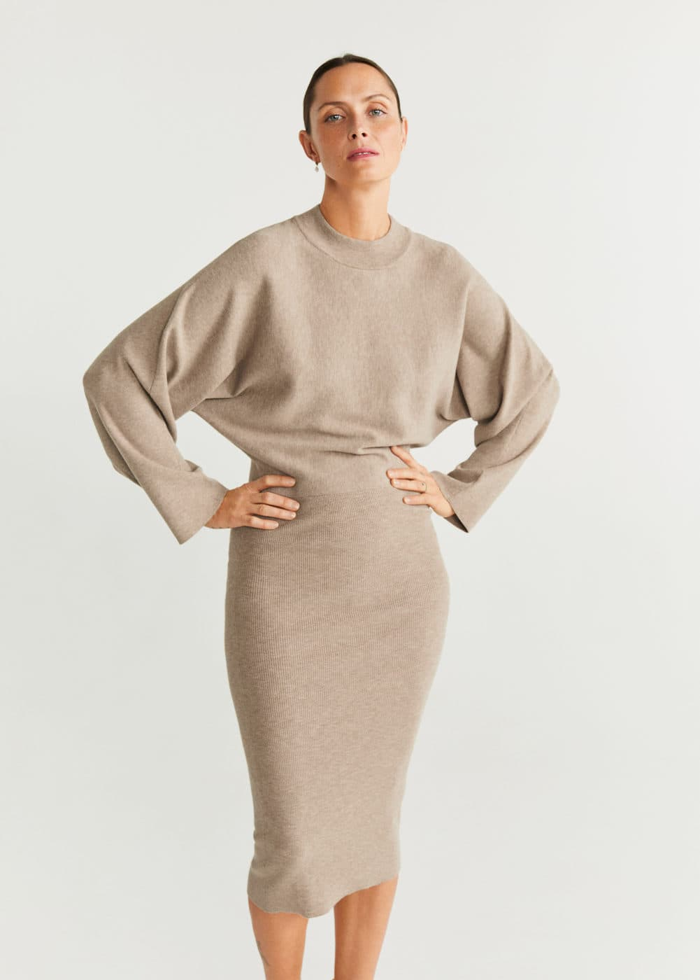 Jerseykleid Mit Kontrastoberteil by Mango