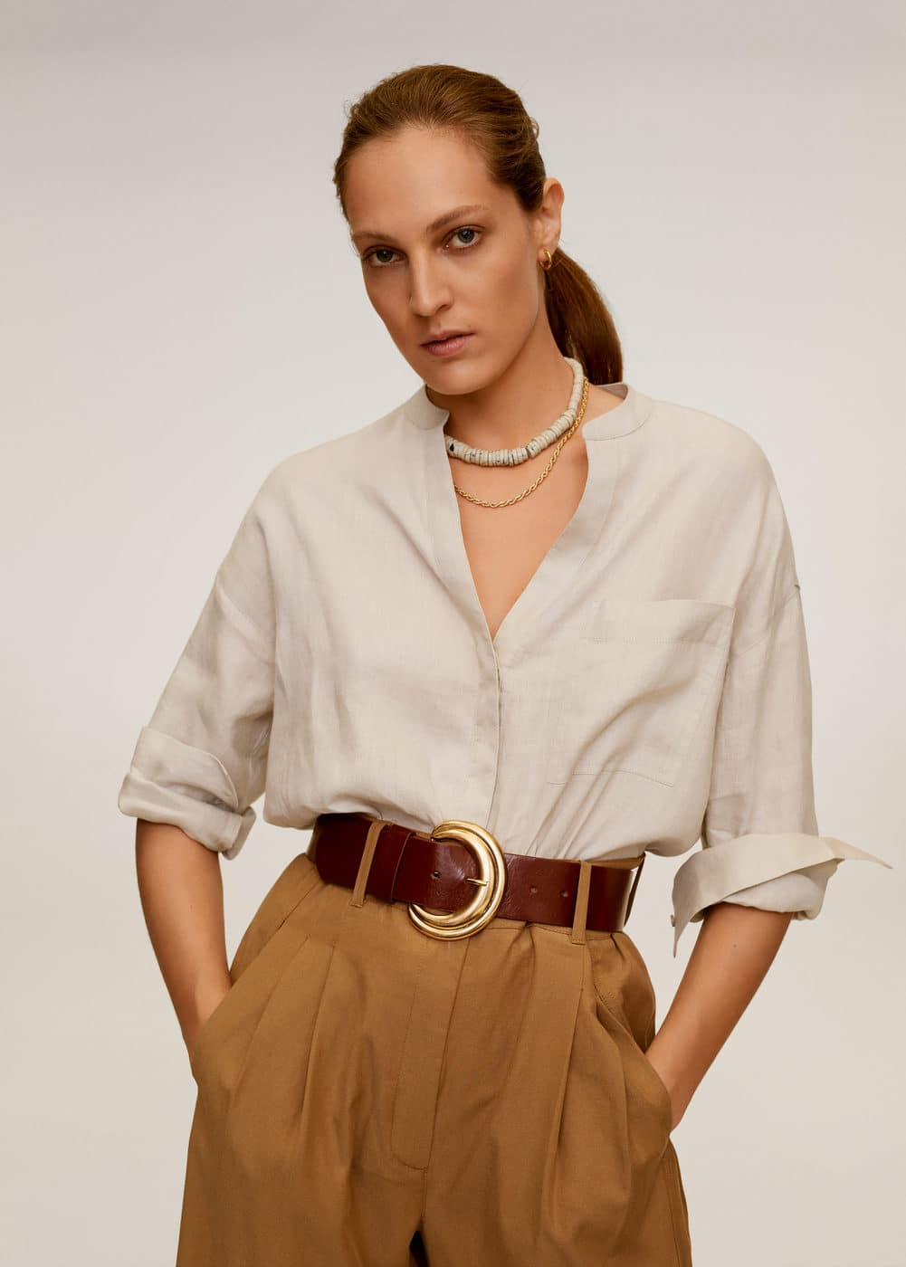 m-liniki:camisa lino cuello mao