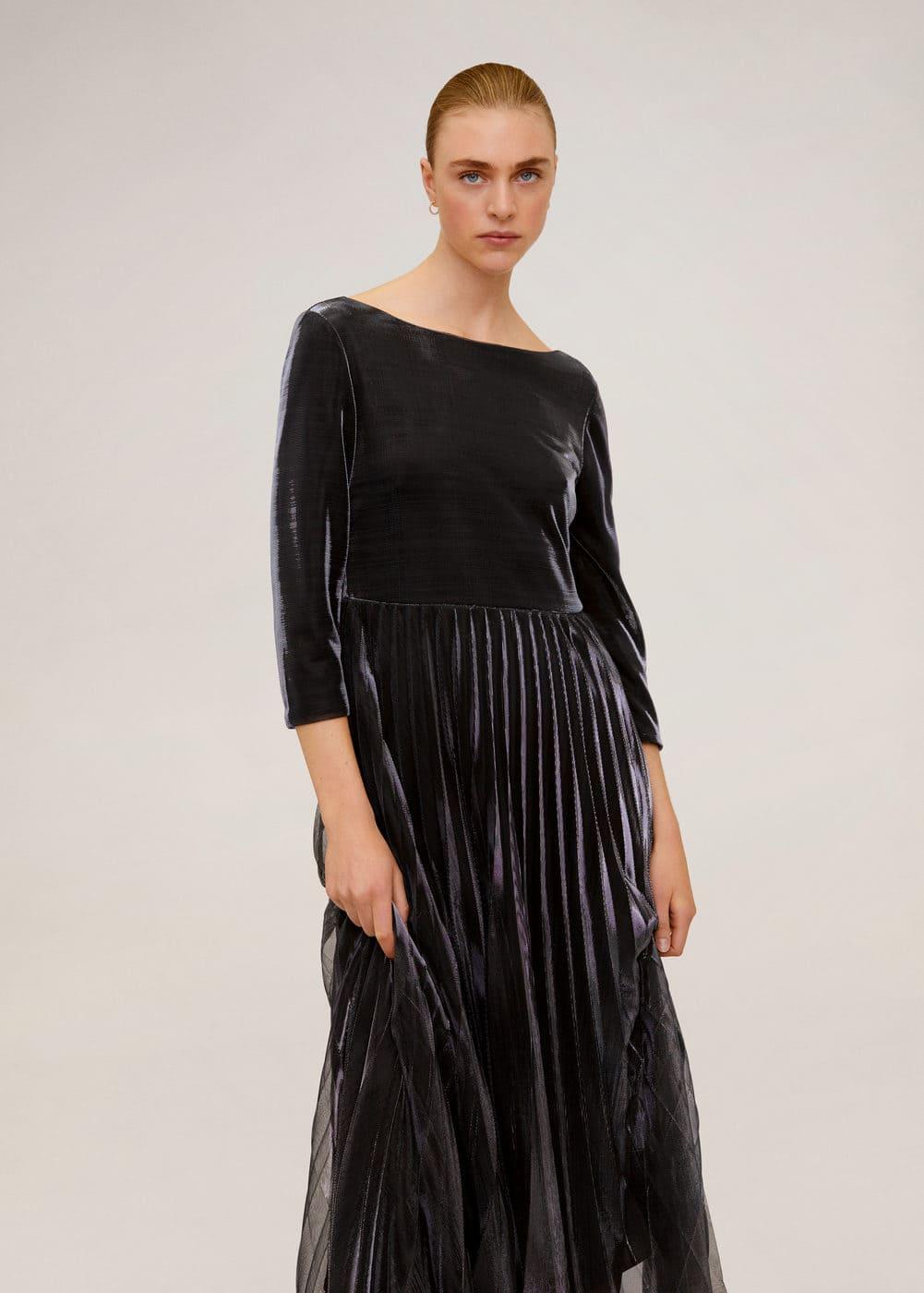 m-breeze-a:vestido plisado metalizado