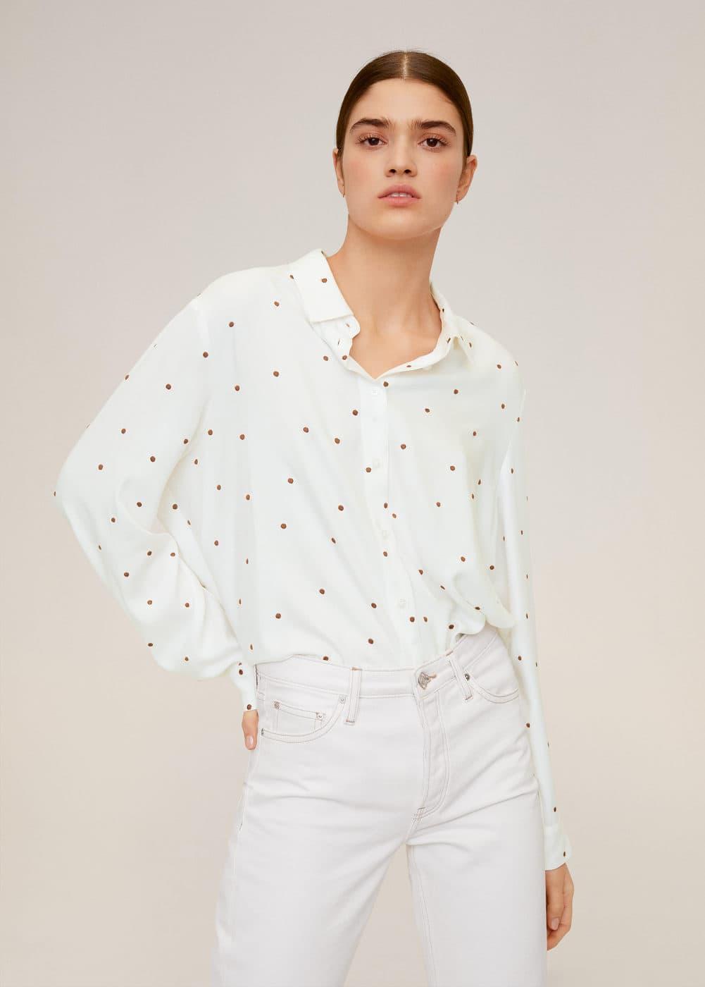 Струящаяся рубашка в горошек - Рубашки - Женская | Mango МАНГО Россия (Российская Федерация)
