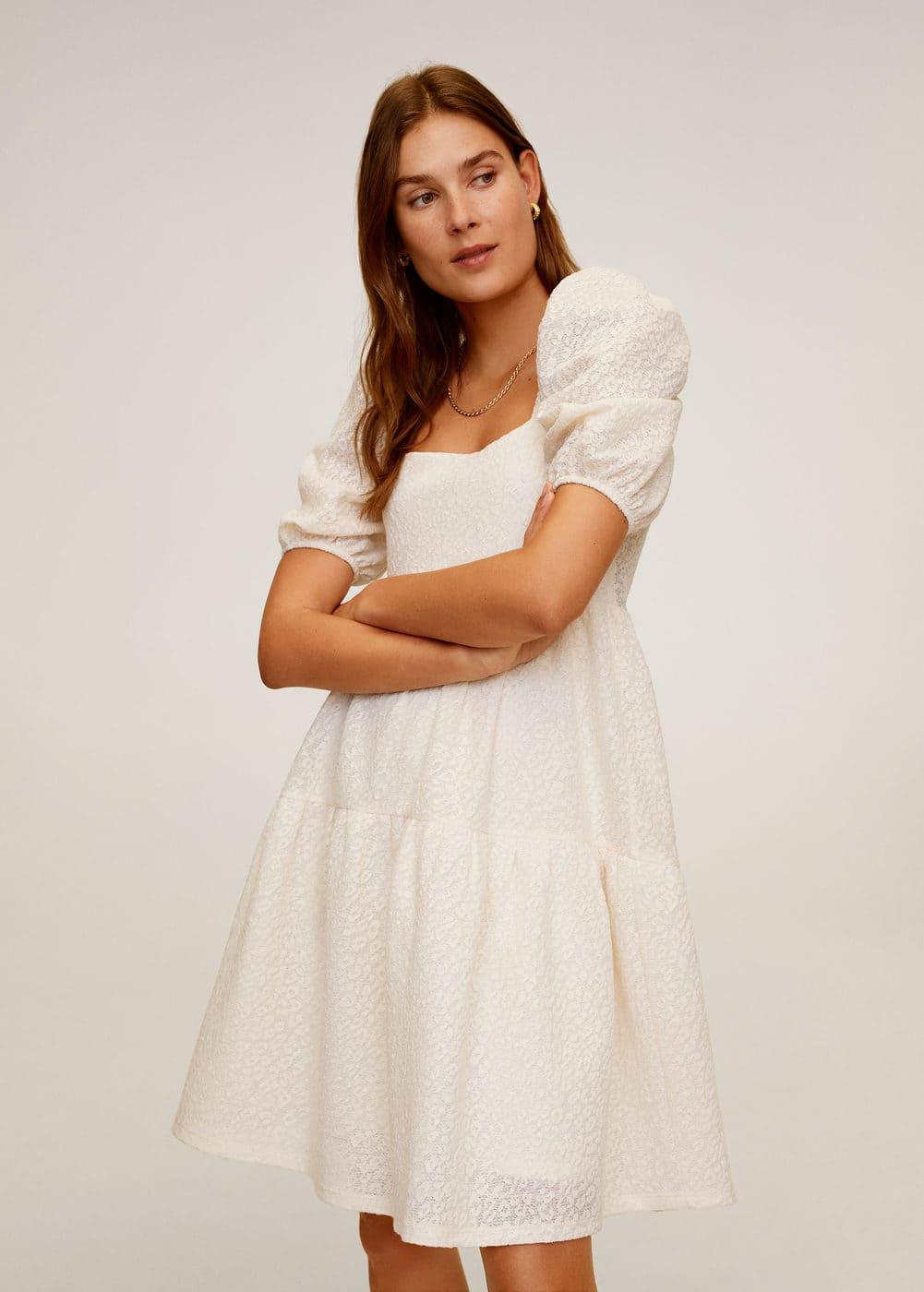 Фактурное платье с воланами -  Женская | Mango МАНГО Россия (Российская Федерация)