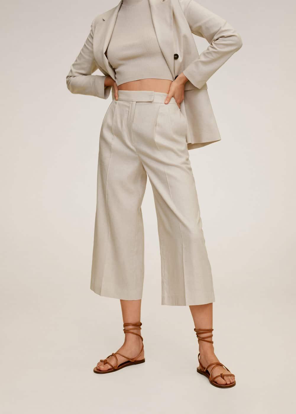 m-tempoli:pantalon culotte lino